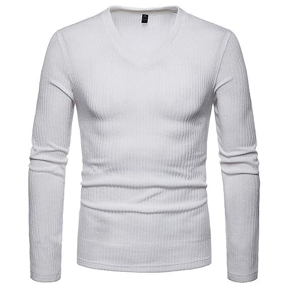 Yvelands Camisas para Hombre, Camisas para Hombres Camisas con Cuello en V Casual Slim Fit
