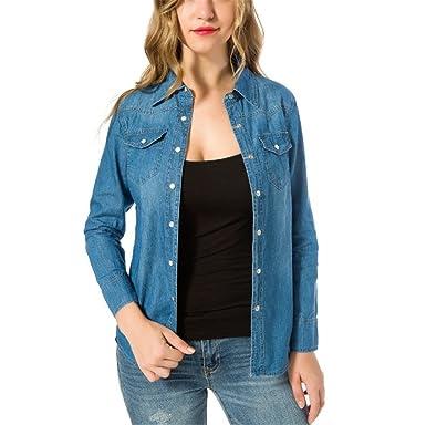 Autumn Woman Denim Shirt Style Long Sleeve Shirts Women 2 Colors Blouses Blusa Jeans Feminina Blue