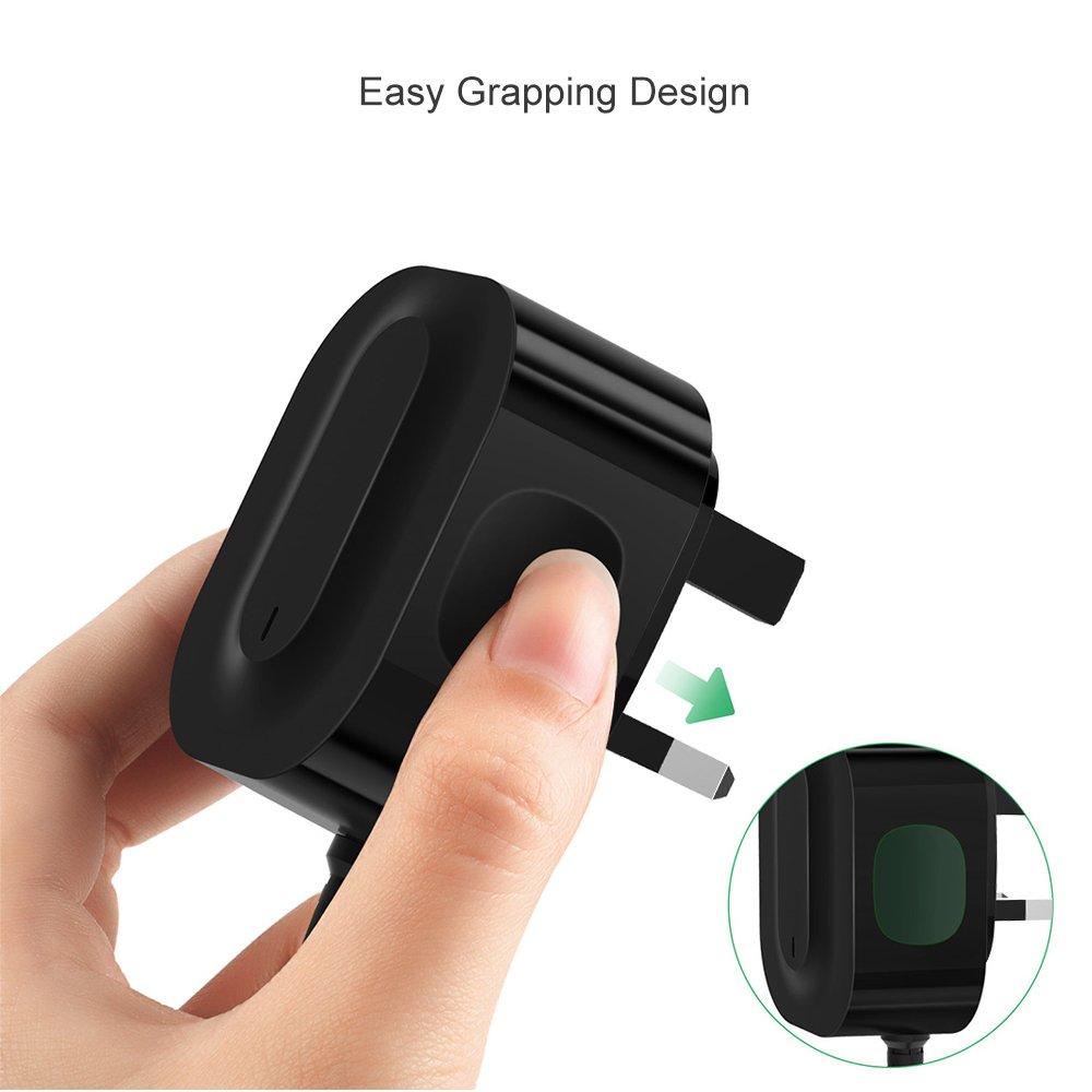Vogek - Cargador de Pared USB C para Motorola Turbo Power USB Tipo C con Cable Integrado de Carga Rápida 3.0 para Moto Za Familia, Samsung Galaxy S9 S8, ...