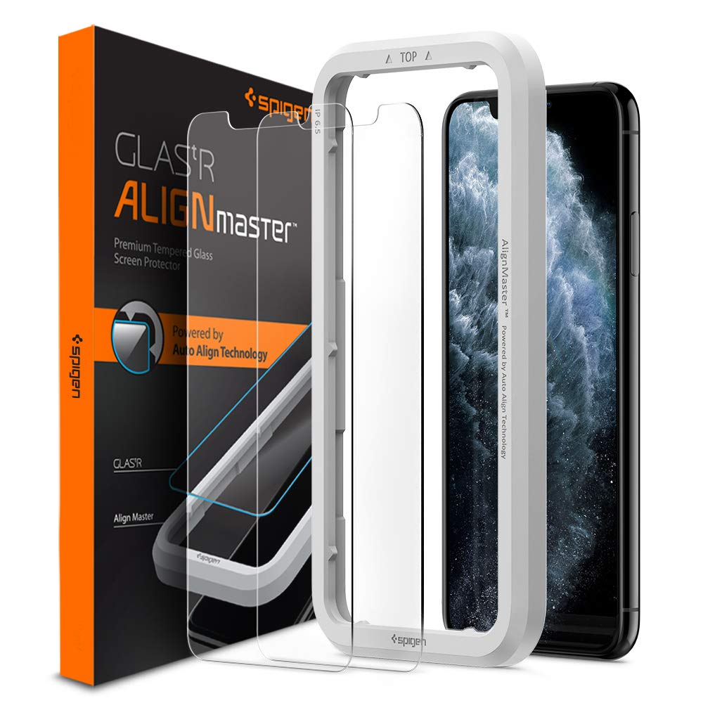 Spigen AlignMaster Tempered Glass Screen Protector for iPhone 11 Pro Max and iPhone XS Max - 2 Pack