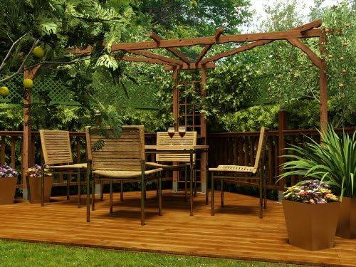 Dunster House Karen Pergola de Madera Garden Esquina para Exteriores Estructura - Tratado presión Madera 2, 6 m x 2, 6 m (9 x 274, 32 cm) Aprox: Amazon.es: Jardín