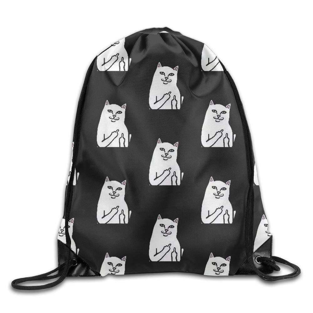 Cat Black Drawstring Backpack Rucksack Shoulder Bags Training Gym Sack For Man And Women