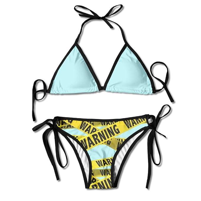 Amazon Com Warning Custom Slim Fit Tie Side Laces Triangle Swimwear Chic Bikini Set For Girl Clothing