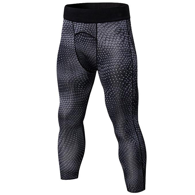 3925af3f29b3 YiiJee Herren Sport Fitness Kompressions Hosen Tights Base Layer Hose  Schnelltrocknend Elastizität Hose L