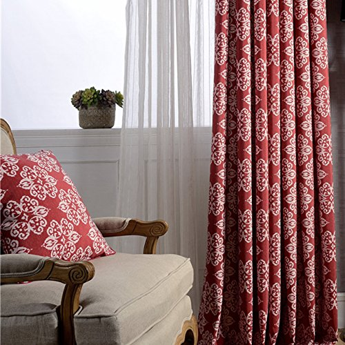Red Curtains for Living Room Drapes - Anady Top 2 Panel White Design Pattern Window Curtains Decro Drapes Grommet 84 inch Lenght 2017 New