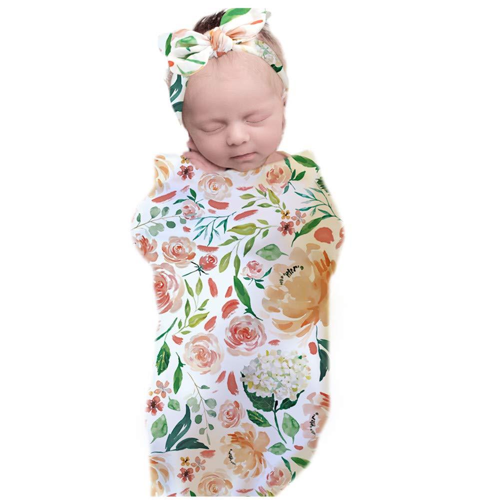 3-Pieces Set Newborn Receiving Swaddle Cocoon Sack Newborn Baby Boys Girls Sleep Blanket with Bow Headband Set Baby Props Infants Receiving Blankets(Secret Garden)