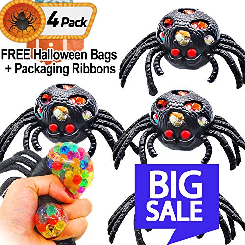 HALLOWEEN Basket Stuffers Stress Balls, 4 Pack Black Spider Toys Ball Soft Squeeze Ball Stress Relief Novelty Toys for Kids Bad Habits ADHD Fidget Toys - Horror Party Favors for HALLOWEEN Decorations]()