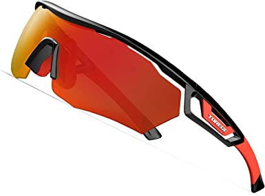TOREGE Polarized Sports Sunglasses with 3 Interchangeable Lenses for Men Women Cycling Running Driving Fishing Glasses TR02