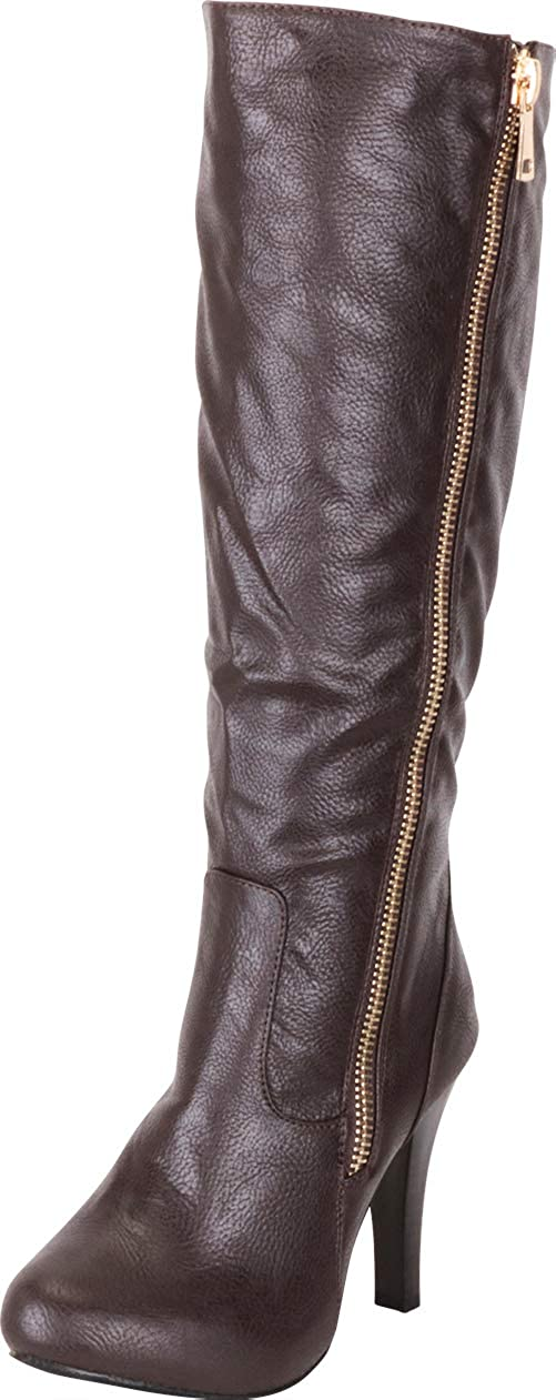 Brown Pu Cambridge Select Women's Side Zip High Heel Knee-High Boot