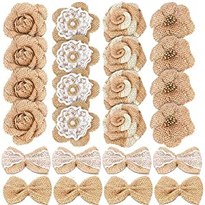 Yolyoo 24PCS Handmade Natural Burlap Flowers, Include Burlap Rose, Burlap Lace with Pearls, Burlap Hibiscus, Burlap Bowknot,for DIY Craft Bouquets Home Wedding Christmas Party Decoration 7