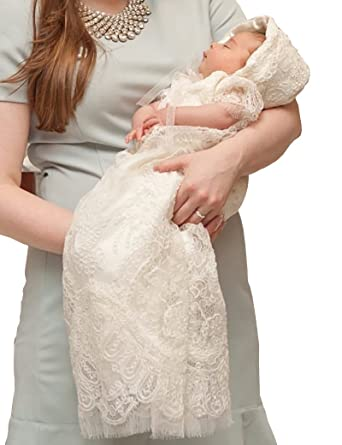 Amazon.com: Aorme Ivory Lace Baby-Girls Christening Baptism Gowns ...