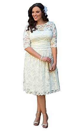 Isabelwedding Women\'s Half Sleeves Plus Size Short Lace Wedding ...