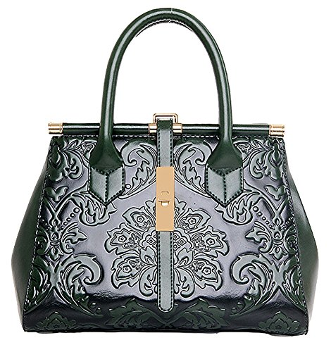 - QZUnique Women's Fashion Chinese Style Elegant Empaistic Top Handle Cross Body Shoulder Bag Green