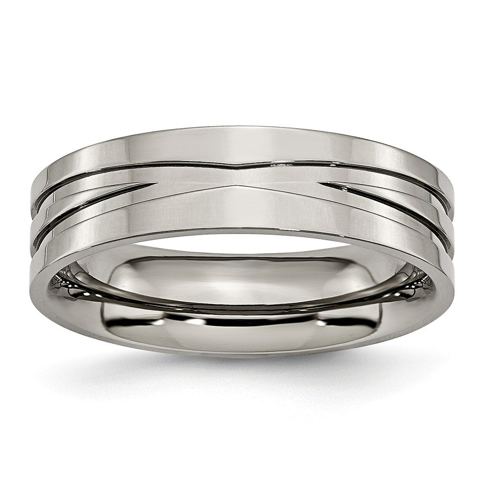 8.5 Size Titanium Jay Seiler Titanium Grooved 6mm Polished Band