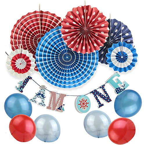 SUNBEAUTY Nautical Birthday Party Supplies Ahoy Baby Boy 1st Birthday Party Hanging Decoration 13 Pieces -