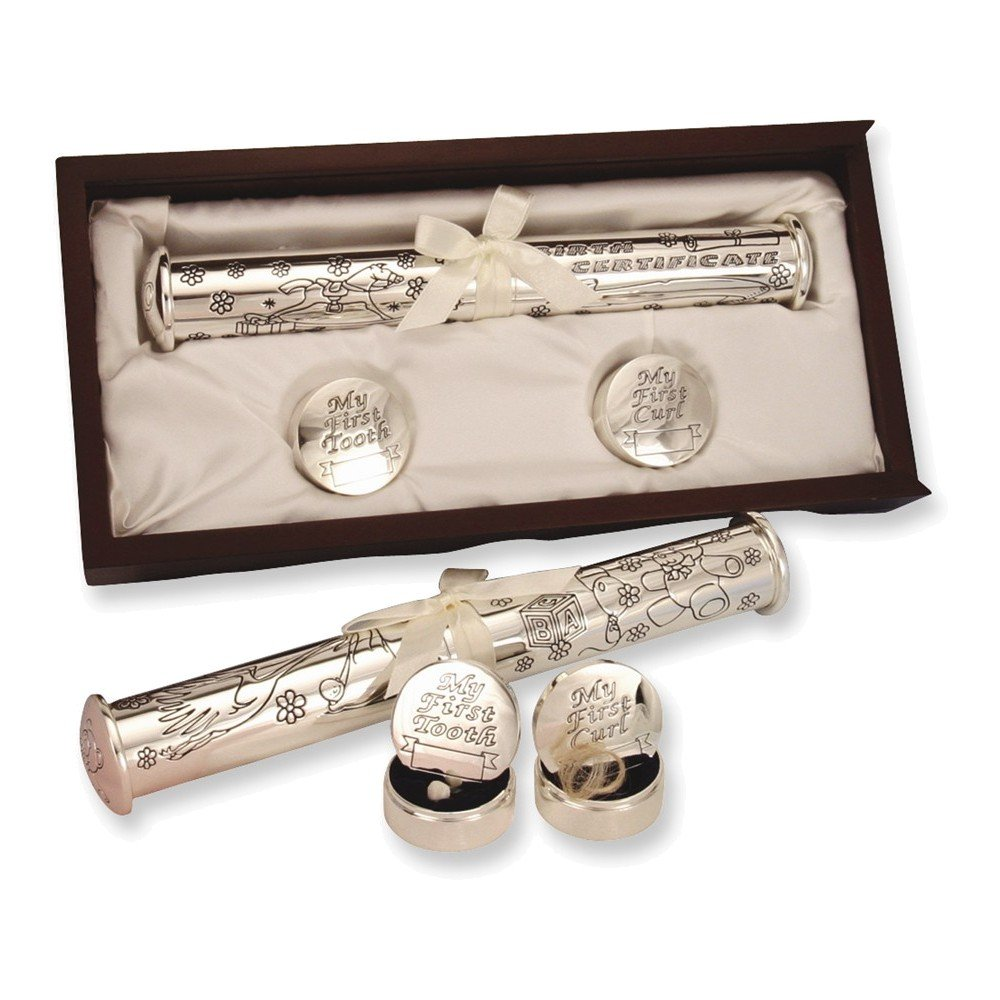 Jewelry Adviser Gifts Silver-plated Birth Certificate Holder and Memory Box Set