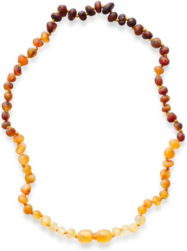Meraki Amber Necklace - Raw Unpolished Baroque Amber Necklace | Certified Genuine Amber Necklace | Rainbow Color (11.5 Inches): Health & Personal Care