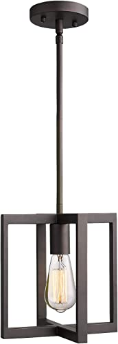 Emliviar 1-Light Hanging Pendant Light, Industrial Pendant Light Fixture, Square Metal Cage in Oil Rubbed Bronze Finish, 2A2-D1 ORB