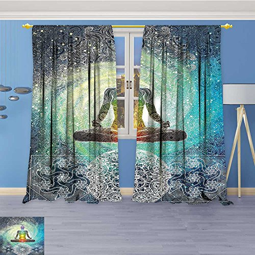 SOCOMIMI Room Darkening Window Curtains,itati Batik Hippie Om Sign Blacklight Reactive Tapestry Hanging Dodroom Living Room Back Tab,Set of Two Panels 108