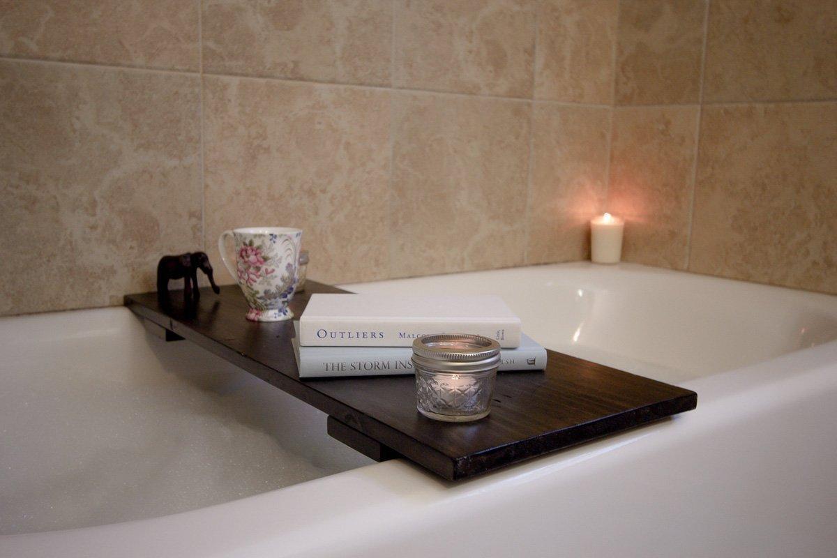 Amazon.com: Bathtub Desk Handmade & Custom Fit Bathtub Caddy / Bath ...