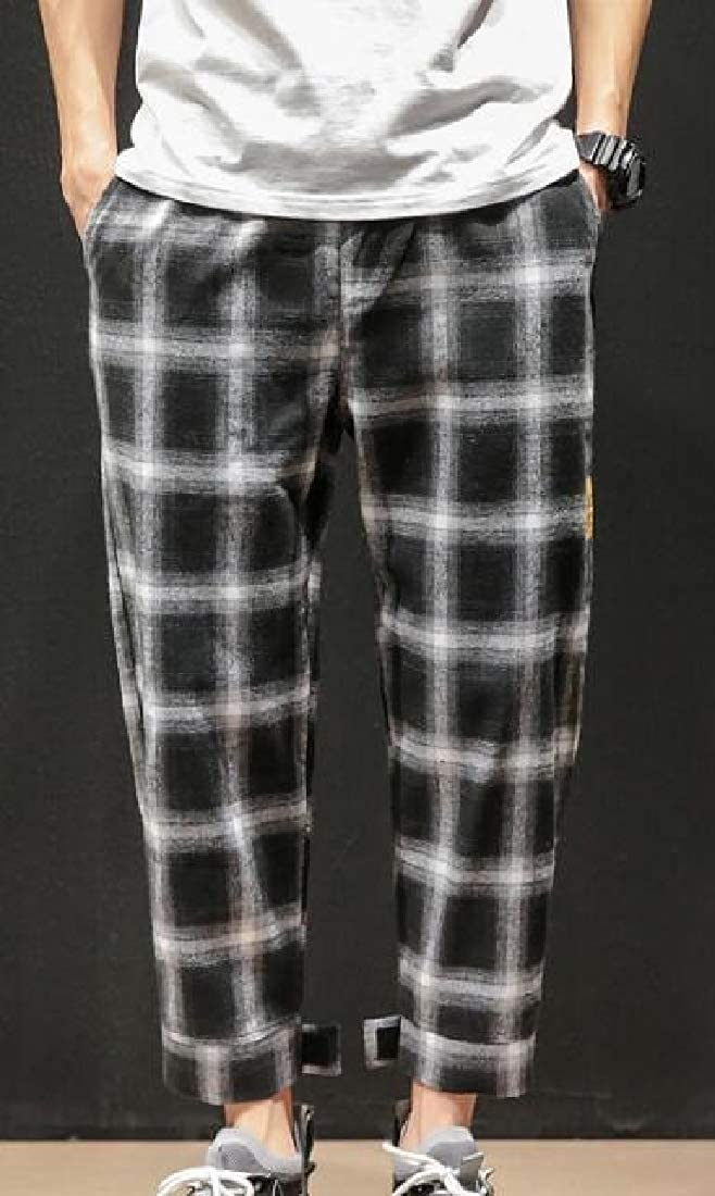 Smeiling Mens Hip Hop Loose Fit Casual Plaid Harem Pants Jogger Pants