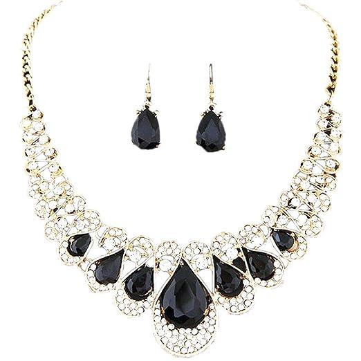 Alalaso Bohemia Collar Choker Bib Statement Necklace Earrings Jewelry Set  For Women Ladies Girls Wedding Party c22fd795c9a8