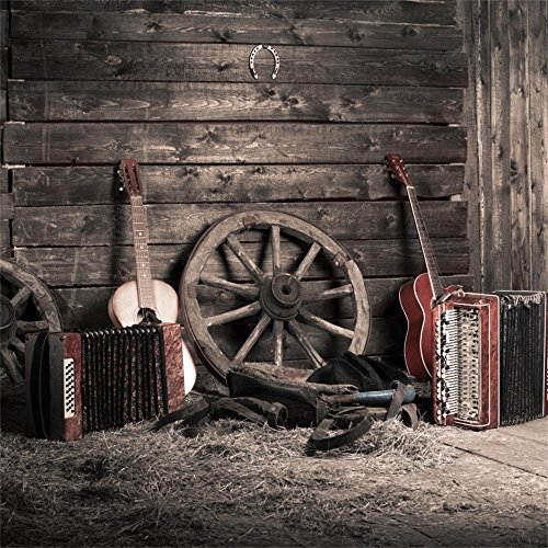 OFILA Cowboy Backdrop 5x5ft Western Party Photography Background Horseshoe Guitar Accordion Music Band Studio Portraits Country Concert Background Adult Cowboy Party Shoots Old Wheel Photos Props ()