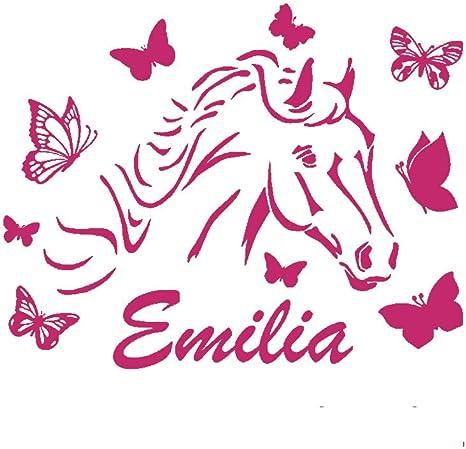 Amazon De Denoda Pferd Mit Schmetterlingen Wunschname Wandtattoo Pink 63 X 50 Cm Wandsticker