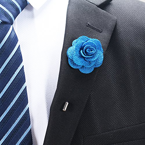 RareLove 3pcs Wedding Rose Boutonniere Lapel Pins Set For Men Flower White Red Blue (Green 5pcs) by RareLove (Image #1)