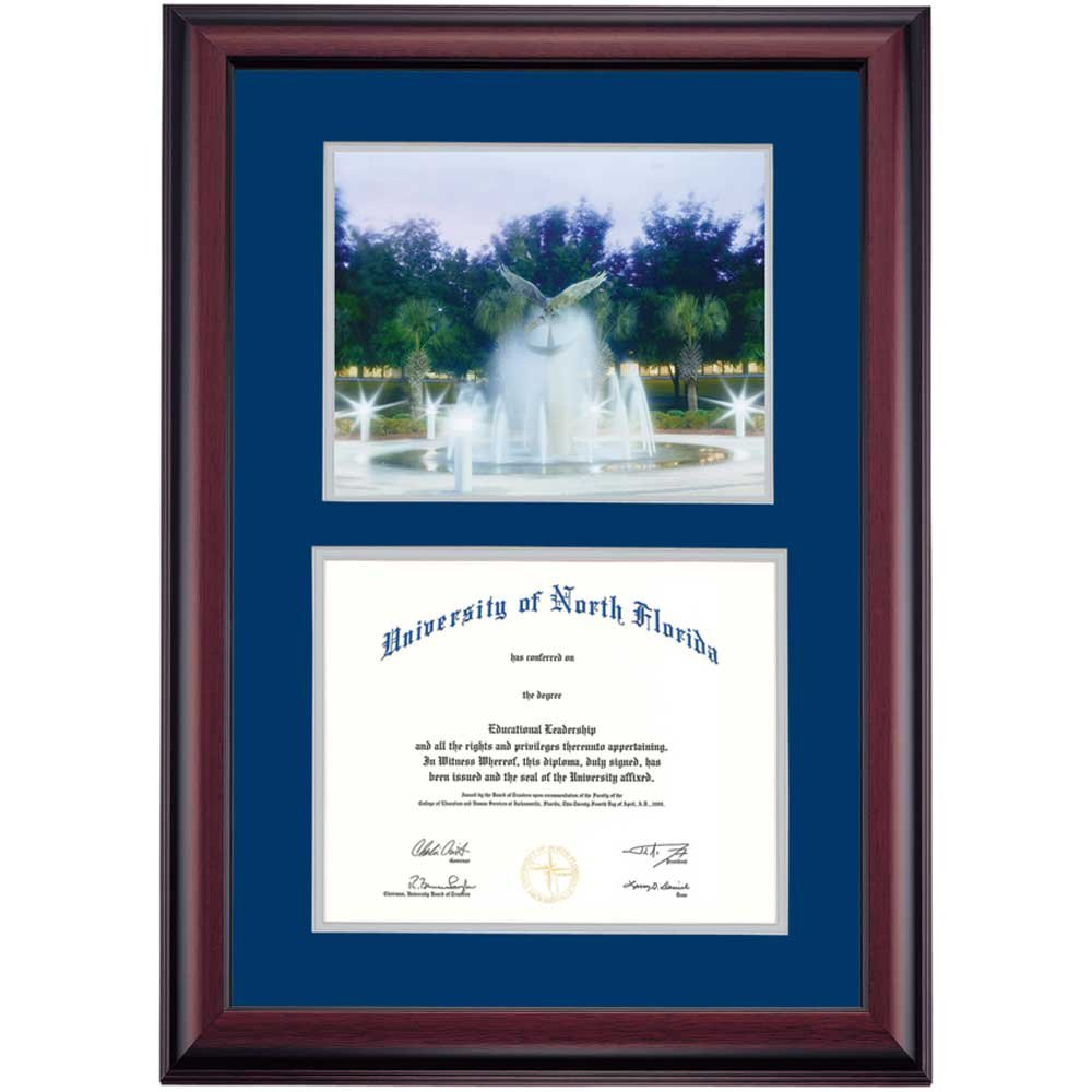 North Florida Ospreys Diploma Frame Blue Gray Matting Photograph by Campus Linens