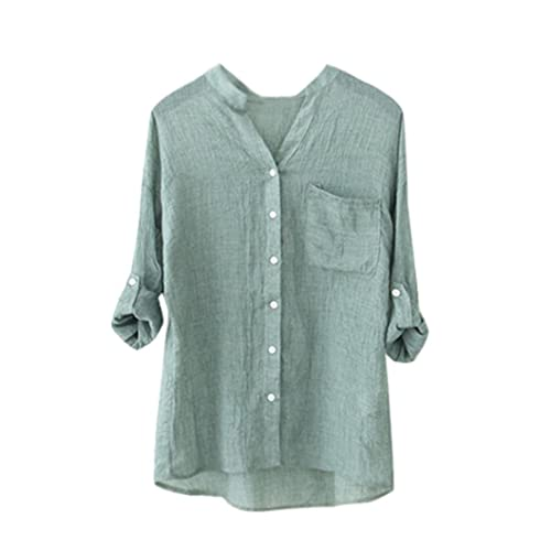 Vovotrade Mujer Hombre Algodón Lino Bolsillo Camiseta Sólido Manga Larga Casual Suelto Blusa Abotona...