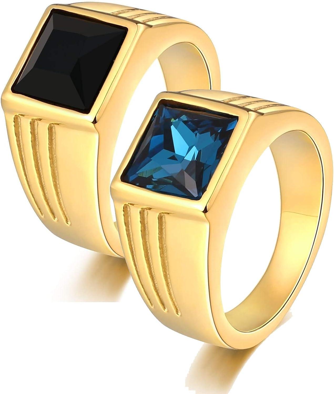 AnazoZ 2 PCS Anillos de Compromiso Pareja Anillos de Pareja Acero Inoxidable Oro Anillo Cuadrado Circonita Azul Negra