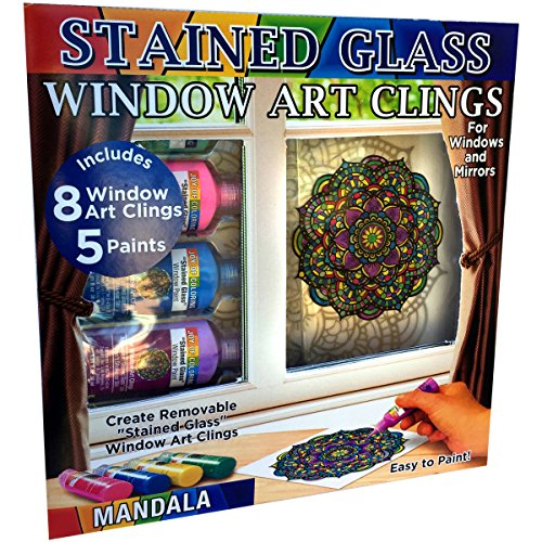 Joy of Coloring Zorbitz, Stained Glass Window Art Cling Kit DIY, 8 Clings & 5 Colors Paint Craft -