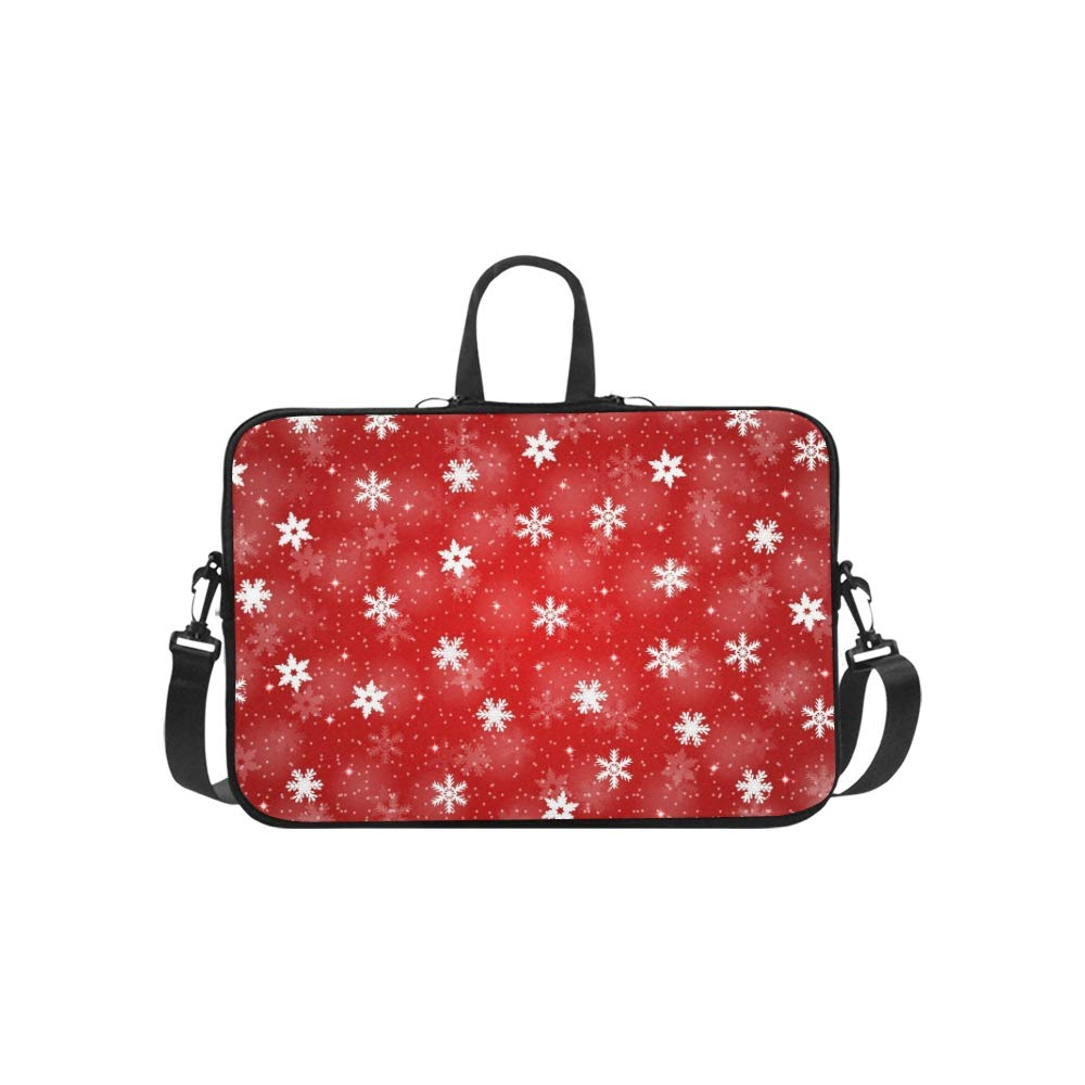 Rojo Christmas Snowflakes Pattern Briefcase Laptop Bag Messenger Shoulder Shoulder Shoulder Work Bag Crossbody Bolso para Viajes de Negocios 1151d5