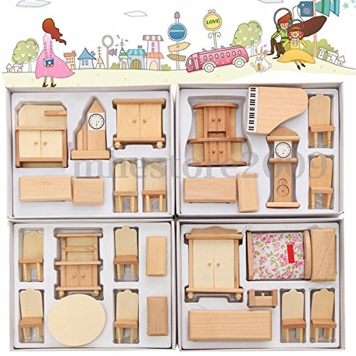 Shalleen 29Pcs Set Dollhouse Miniature Unpainted Wooden Furniture Suite 1/24 Scale Model (Cheap Outdoor Rattan Furniture Sydney)