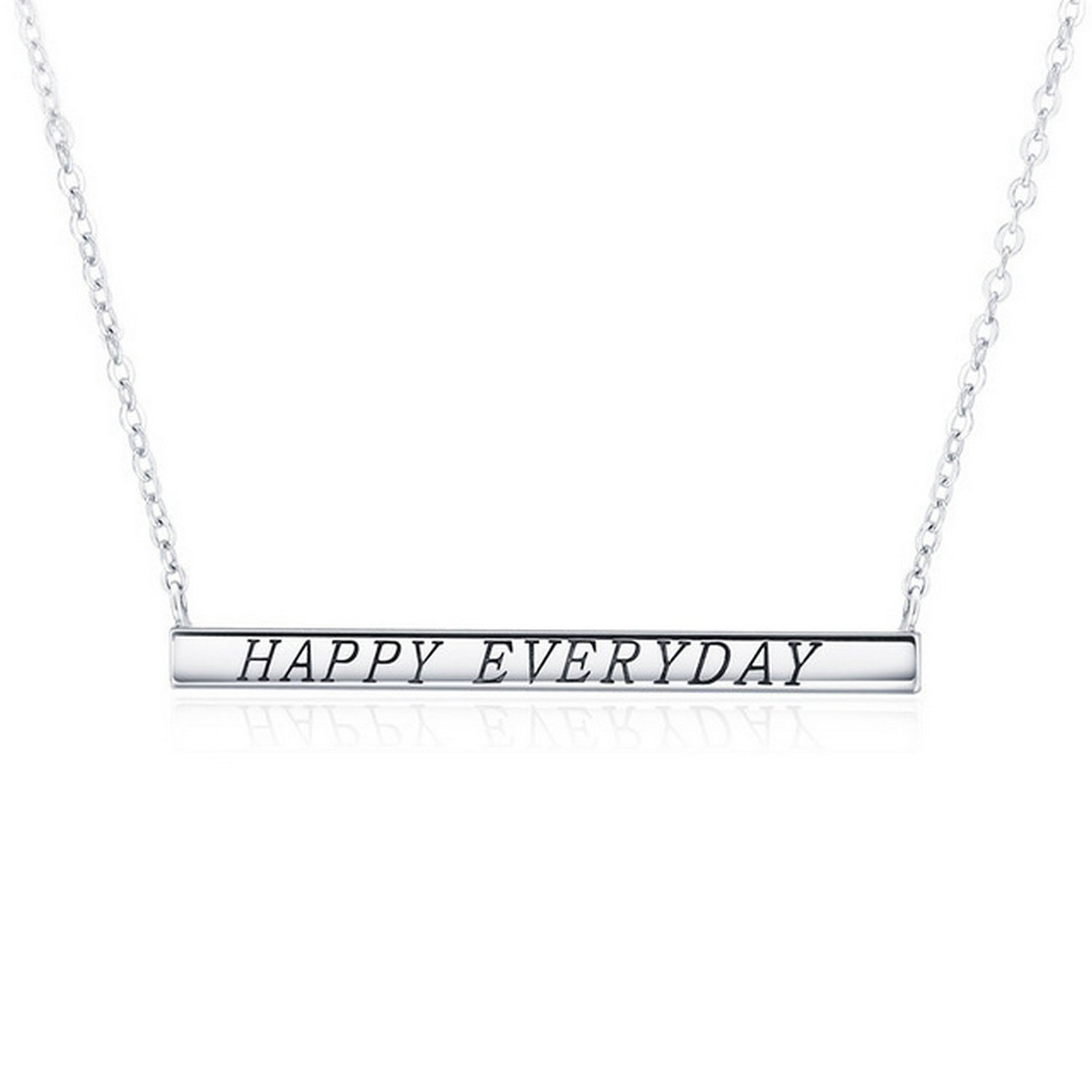 CS-DB Jewelry Silver Happy Everyday Letters Chain Charm Pendants Necklaces