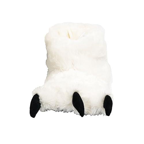 Lazy One Kids Bear Paw Slippers Medium White