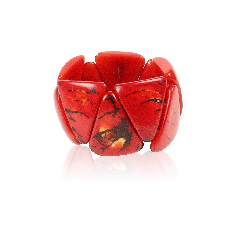 Artisan Elegant Black and Red Tagua Triple Tear Drop La Quita Earrings