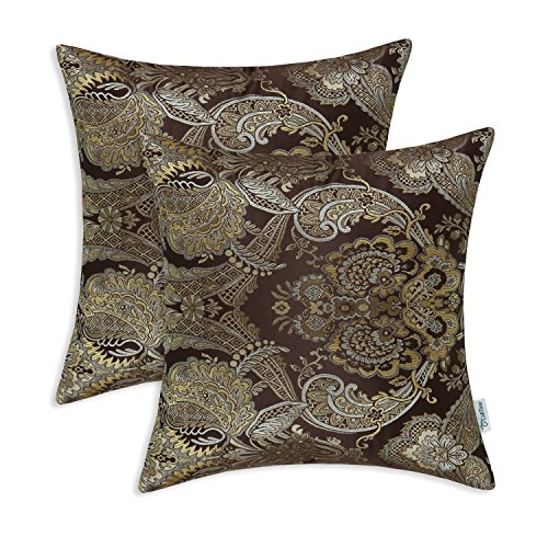 CaliTime Pack of 2 Supersoft Throw Pillow Covers Cases for Couch Sofa Home Decor Vintage Damask Floral 20 X 20 Inches Coffee