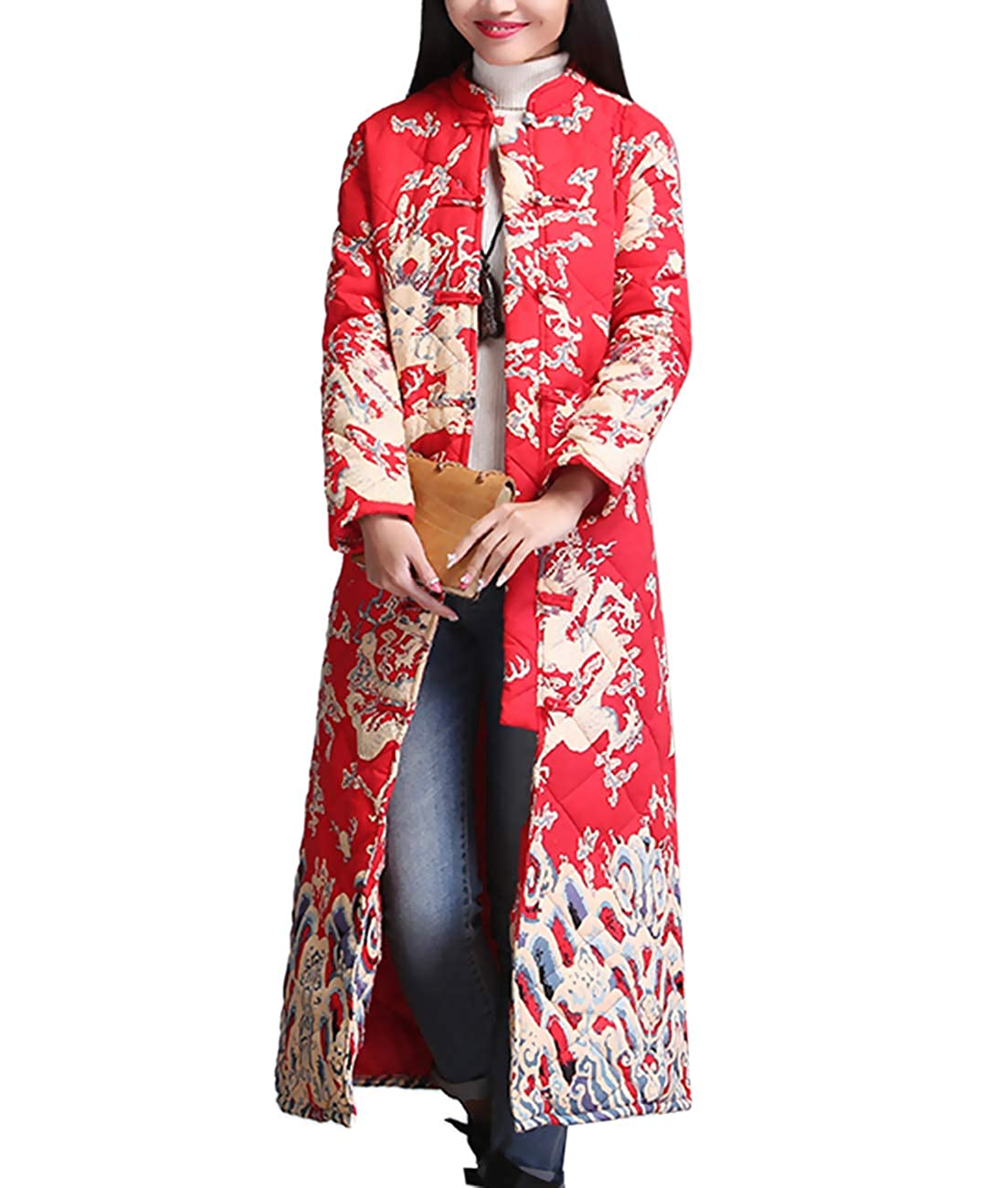 Women's Traditional Chinese Qipao Long Red Quilted Jacket