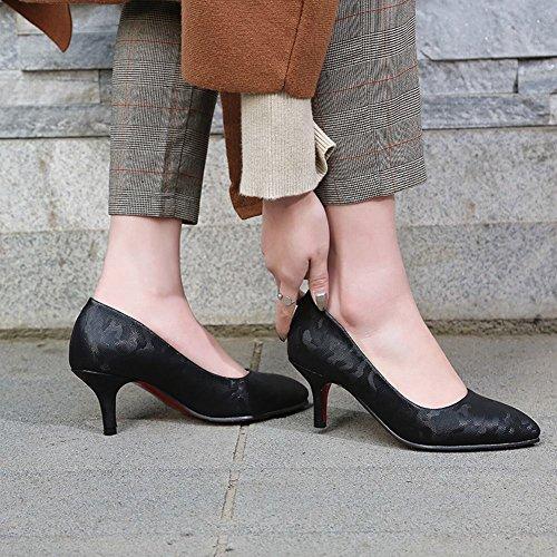 MissSaSa Damen Stiletto Pointed Toe Abendschuhe Schwarz