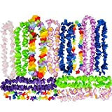 Hawaiian Flower Lei - Tropical Luau Party Supplies - By Neliblu - Large Flower Leis Assortment, Bulk Pack of 25; Luau Party Decoration Supplies and Favors