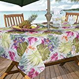 #7: Casual Living by Newbridge Kona Tropics Indoor Outdoor Polyester Table Linens, 60-Inch by 84-Inch Oblong (Rectangle) with Umbrella Hole and Zipper Tablecloth