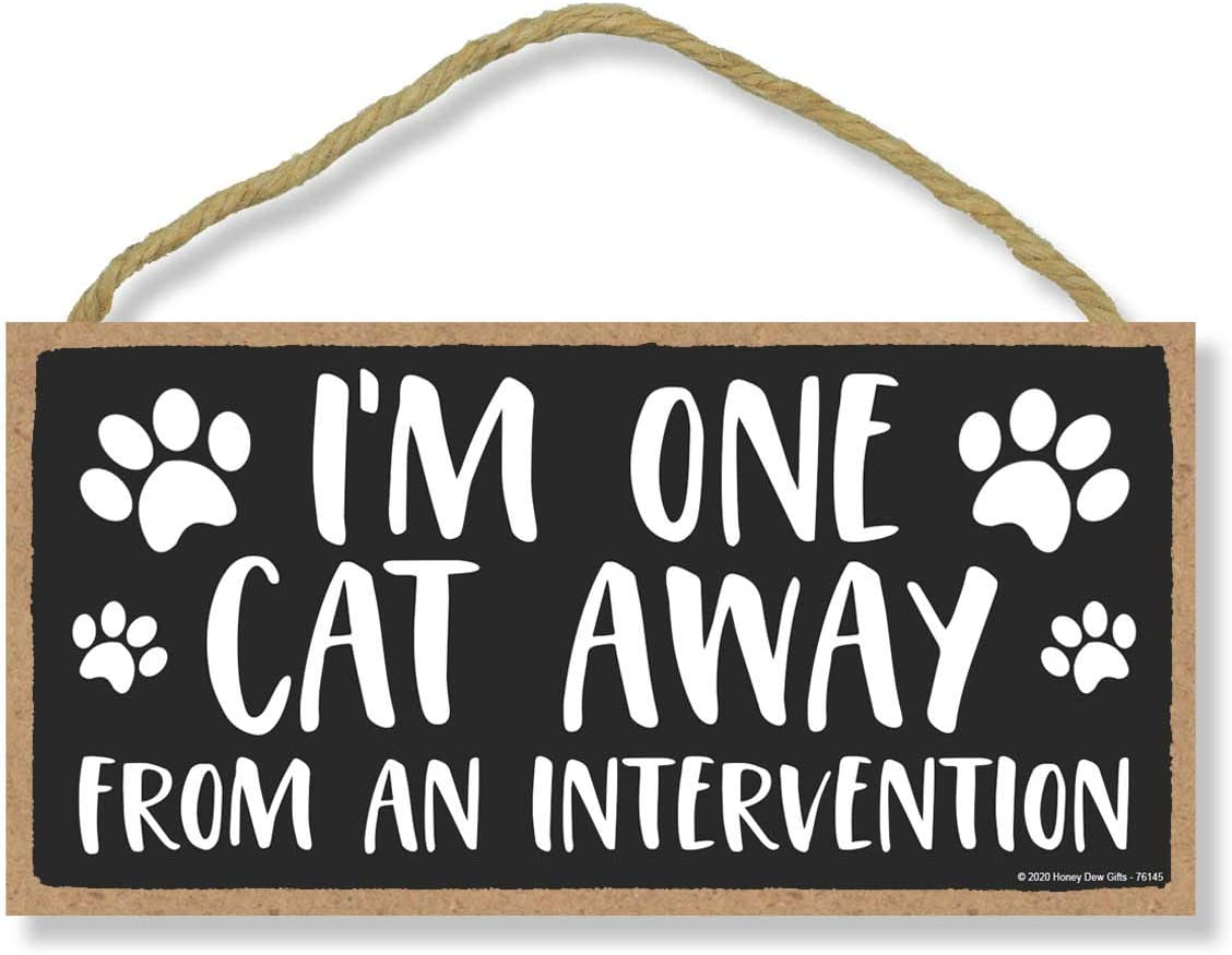 Honey Dew Gifts, I'm One Cat Away from an Intervention, Funny Wooden Home Decor for Cat Pet Lovers, Hanging Decorative Wall Sign, 5 Inches by 10 Inches