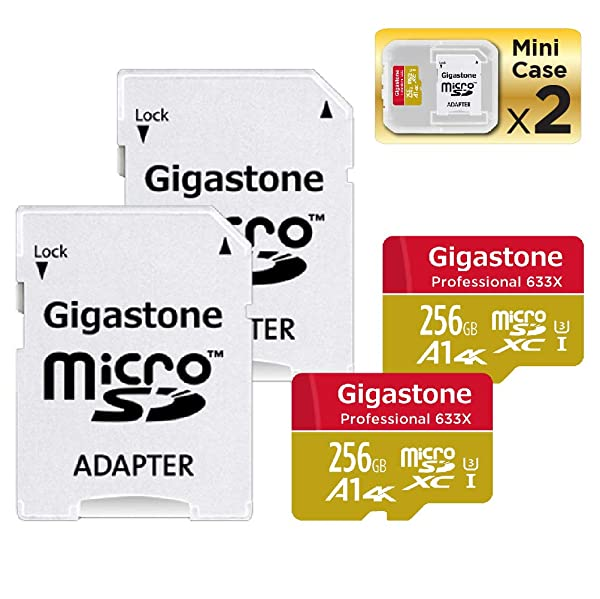 Gigastone Micro SD Card 256GB 2-Pack 4K Ultra HD, Micro SDXC U3 C10 with Mini Case and MicroSD to SD Adapter High Speed Memory Card Class 10 UHS-I Nintendo Gopro Camera Samsung Canon Nikon DJI Drone (Color: 256GB A1 4K 2-Pack)
