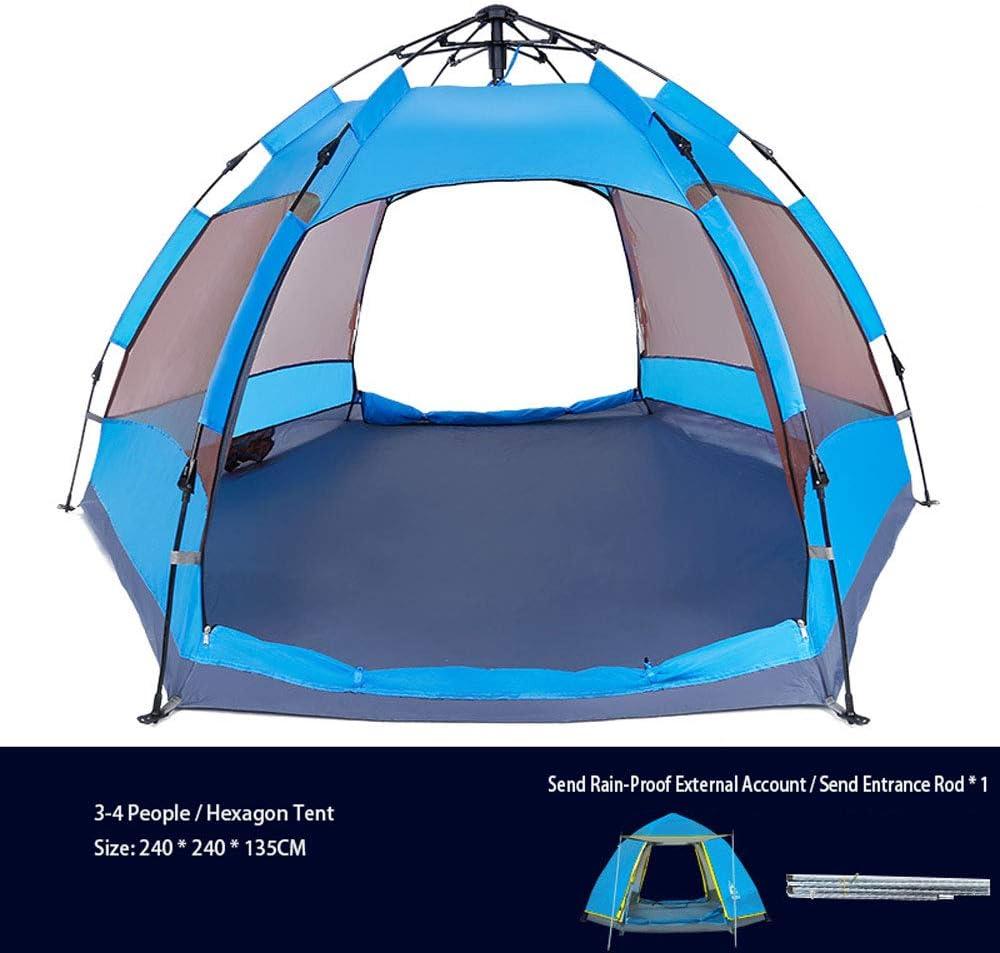 3-4 Persona Hexágono Tienda De Campaña, Tienda De Campaña, Senderismo, Impermeable Refugios De Sol con Bolsa De Transporte para Picnic (240X240X135CM),Azul Blue