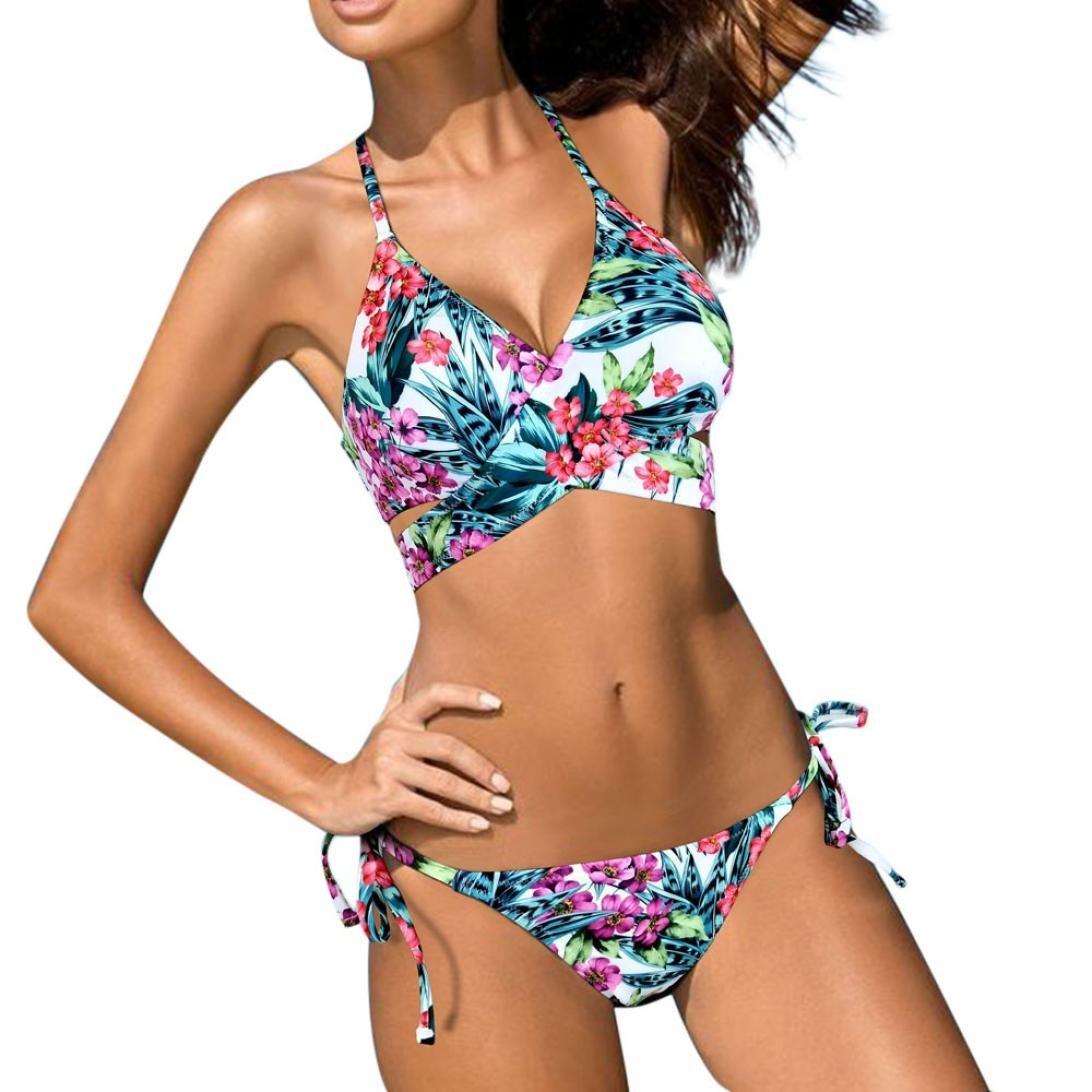 Angelof Maillot de Bain Femmes 2 Pieces Taille Basse Bandage Bikini Push Up Rembourre Bikini Échancré Imprimé Fleurs Tropical Ado Fille ANGELOF0028