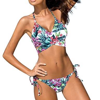 Angelof Maillot De Bain Femmes 2 Pieces Taille Basse Bandage Bikini Push Up  Rembourre Bikini éChancré Imprimé Fleurs Tropical Ado Fille  Amazon.fr  ... 38d662f3c13