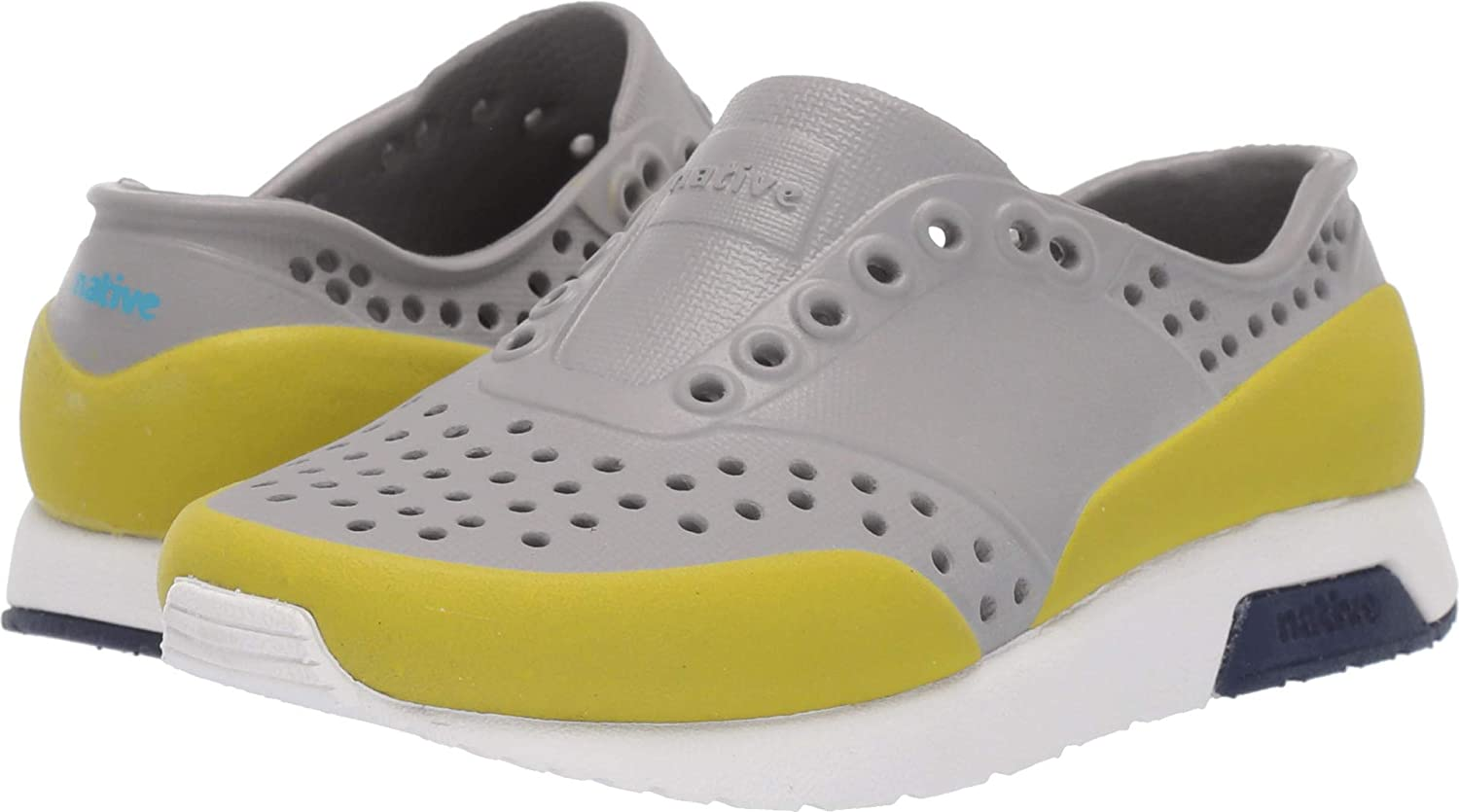 Native Kids Shoes Unisex Lennox Color Block Pigeon Grey//Shell White//Regatta Blue//Glo Green Glow Block 9 M US Toddler Toddler//Little Kid