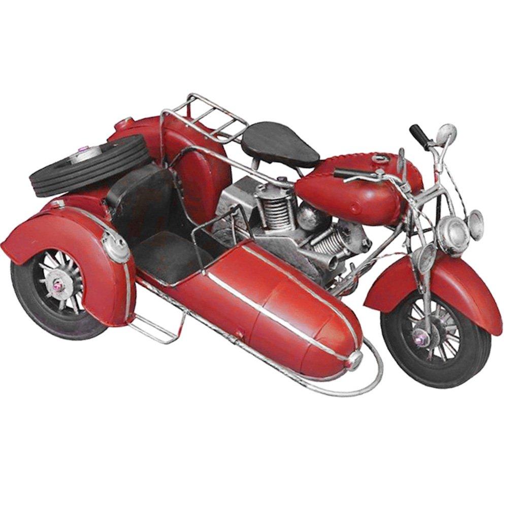SM SunniMix Vintage Handgefertigte Zinn Metall Motorrad Modell Antiqued Home Decor Spielzeug - rot, 32x23x18cm
